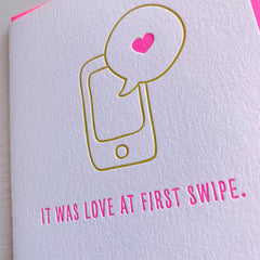 Love at First Swipe Love Card