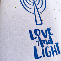 Love & Light Menorah - Hanukkah Letterpress Card