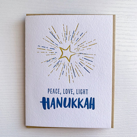 Peace, Love, Light Hanukkah - Letterpress Card