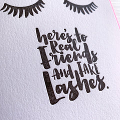 Best Friend Card - Lash Art - Real Friends, Fake Lashes