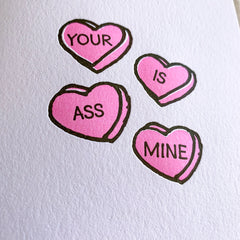 Naughty Candy Hearts Valentines Day Card