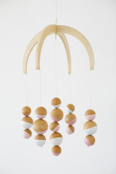 Pink Spheres Wooden Mobile
