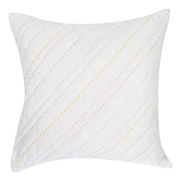 Diagonal Pintuck Rainbow Pillow