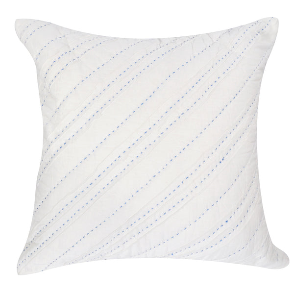 Diagonal Pintuck Blue Pillow
