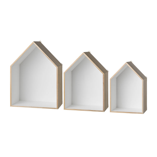 Wood Display Houses - Set of 3