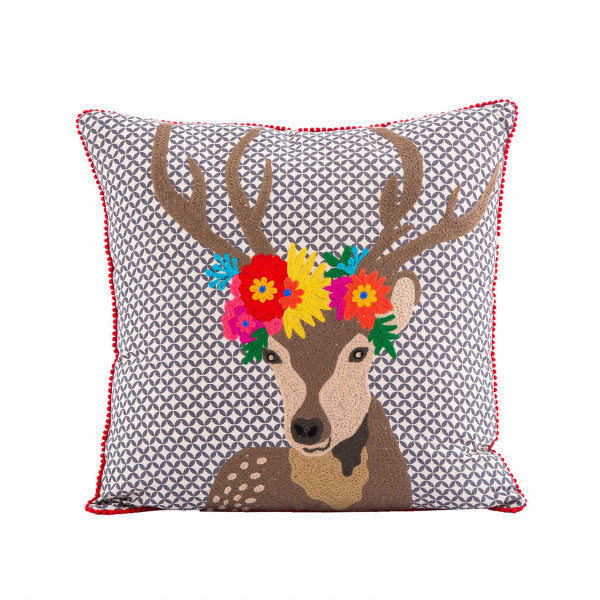 Flower Crown Deer Pillow