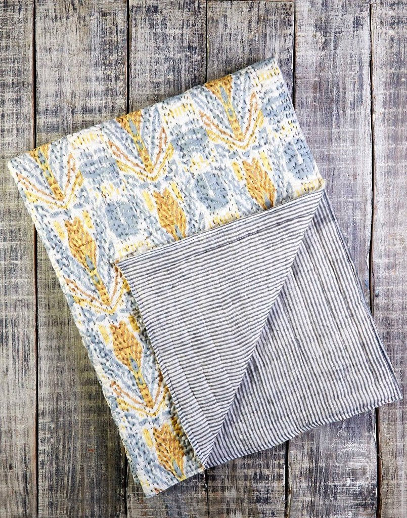 Curated Nest: Nurseries and Design - Amber Ikat Handmade Kantha Quilt - Blanket