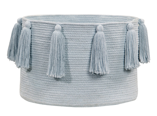Curated Nest: Nurseries and Design - Tassels Basket - Soft Blue - Storage