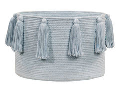 Tassels Basket - Soft Blue