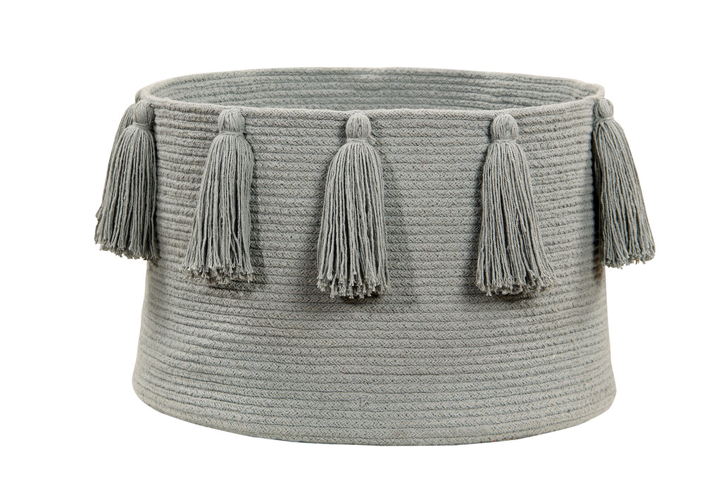 Curated Nest: Nurseries and Design - Tassels Basket - Light Grey - Storage