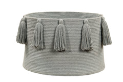 Tassels Basket - Light Grey