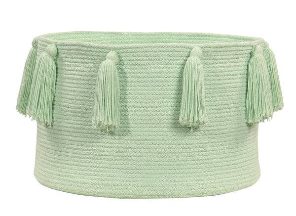 Curated Nest: Nurseries and Design - Tassels Basket - Soft Mint - Storage