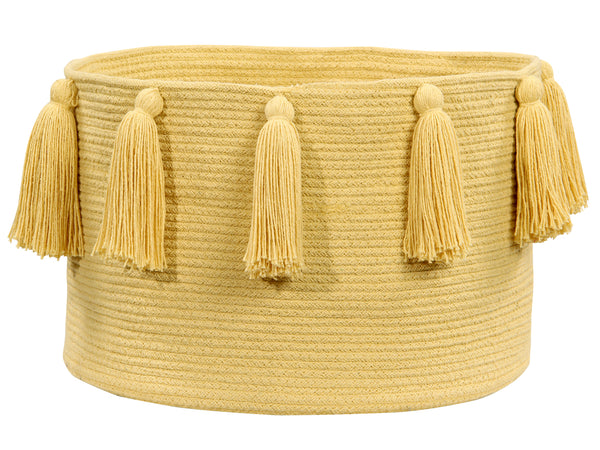 Curated Nest: Nurseries and Design - Tassels Basket - Yellow - Storage