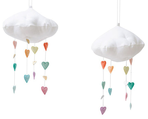 Curated Nest: Nurseries and Design - Luxe Cascading Cloud Mobile with Pastel Hearts - Accessories