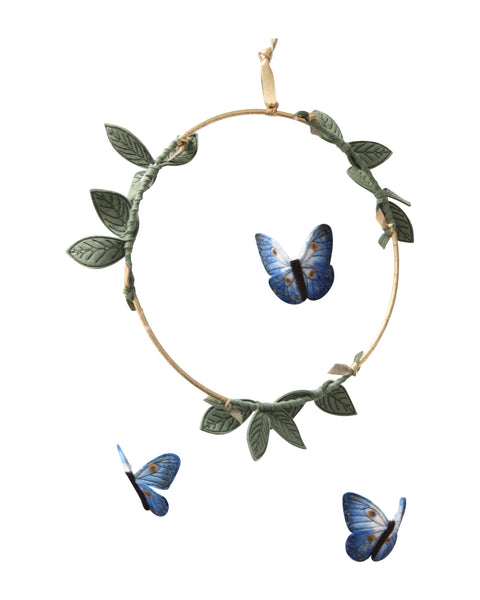 Curated Nest: Nurseries and Design - Butterfly Luxe Mobile - Indigo, Gold & Green - Accessories
