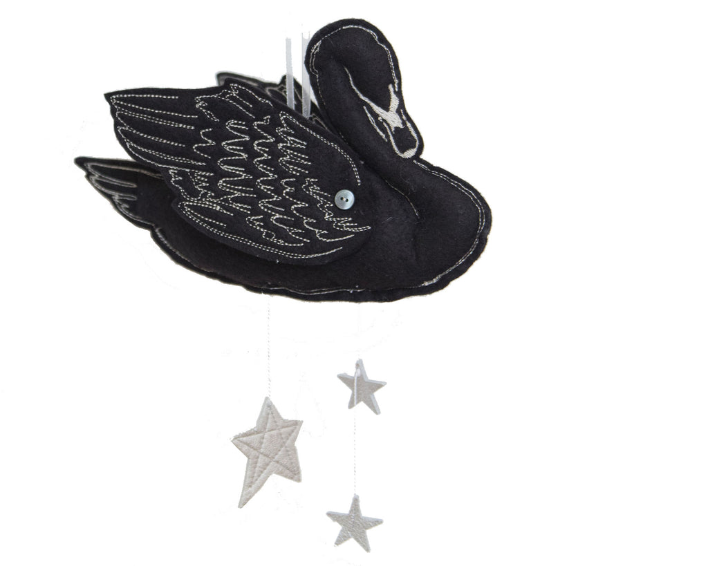 Curated Nest: Nurseries and Design - Handmade Black Swan Mobile with Metallic Leather - Accessories
