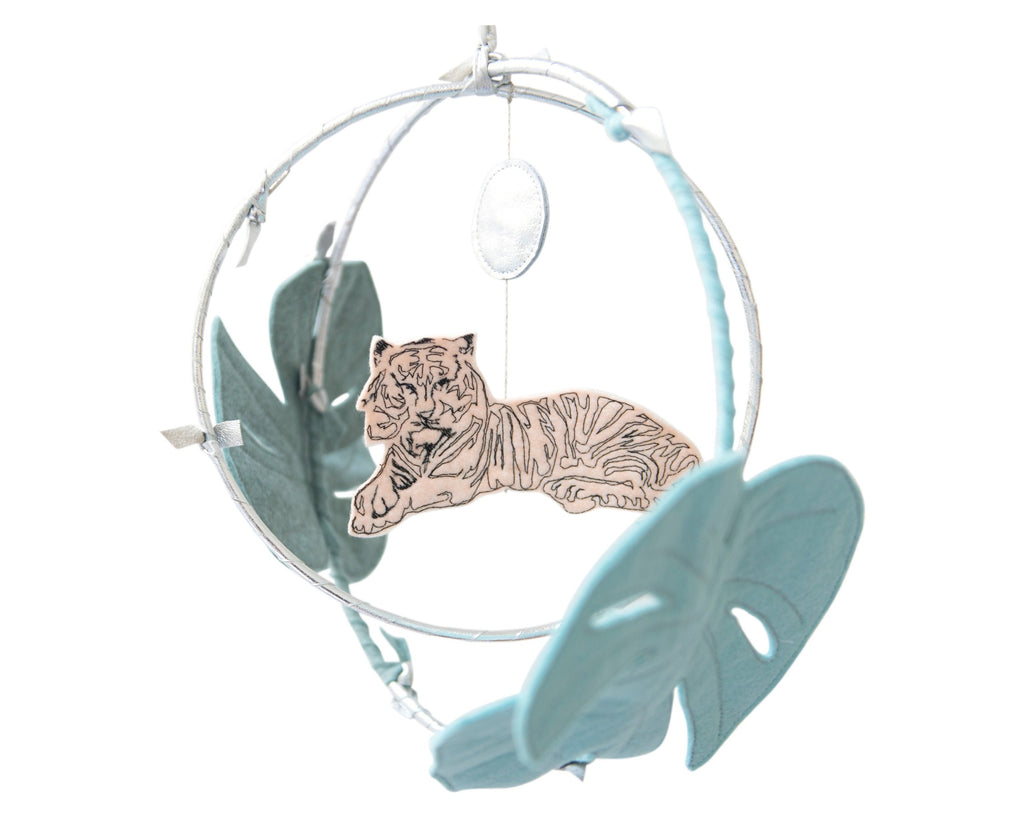 Tiger in the Jungle Mobile - Silver & Peach