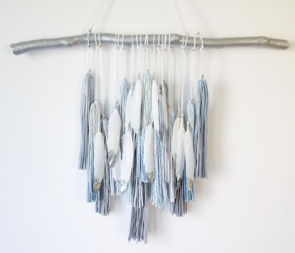 LAST CALL!!! Boho Ombree Tassel Wall Decor - Steel Blue and Silver