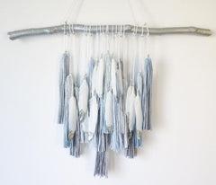 Boho Ombree Tassel Wall Decor - Steel Blue and Silver