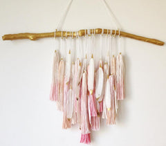 Boho Ombree Tassel Wall Decor - Blush and Gold