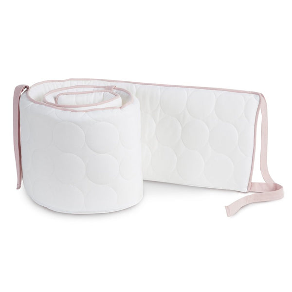 Curated Nest: Nurseries and Design - Oilo Blush and White Quilted Crib Bumper - Bumper