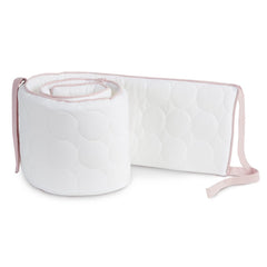 Oilo Blush and White Quilted Crib Bumper