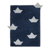 Washable Origami Boats Rug - Navy