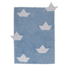 Washable Origami Boats Rug - Light Blue