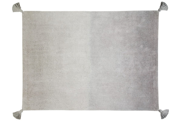 Washable Light Grey to Dark Grey Ombre Rug