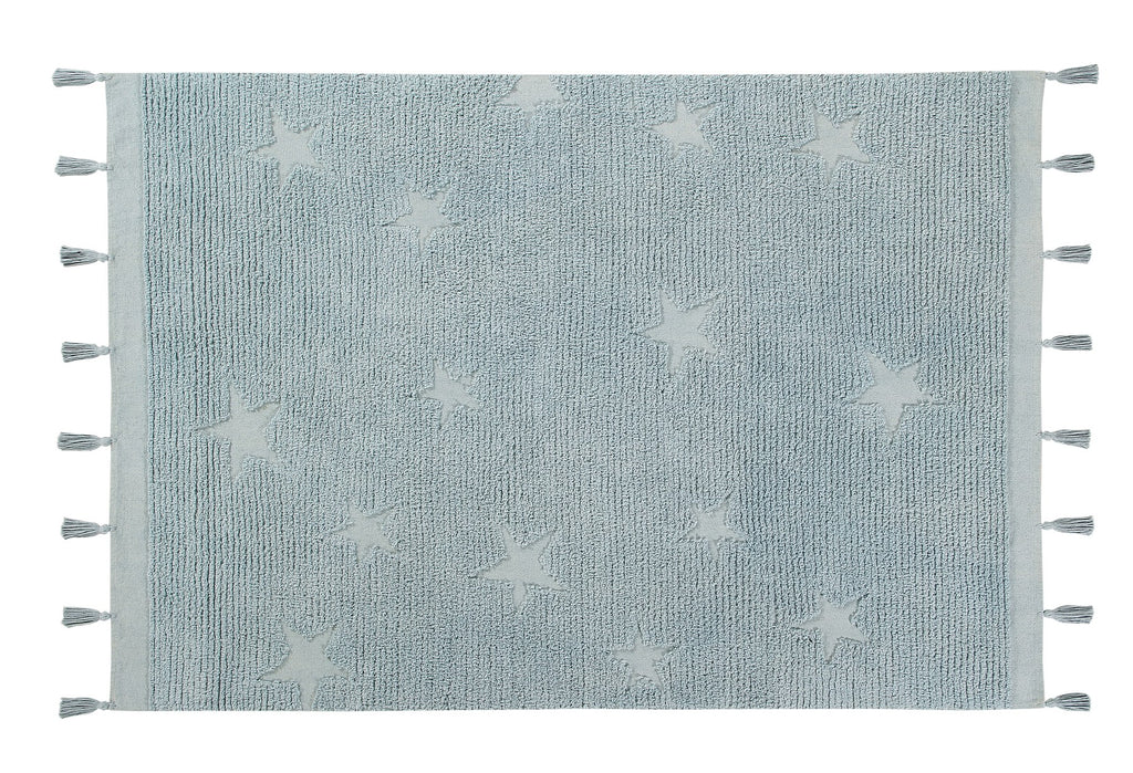 Curated Nest: Nurseries and Design - Hippy Stars Washable Rug - Aqua Blue - Rug