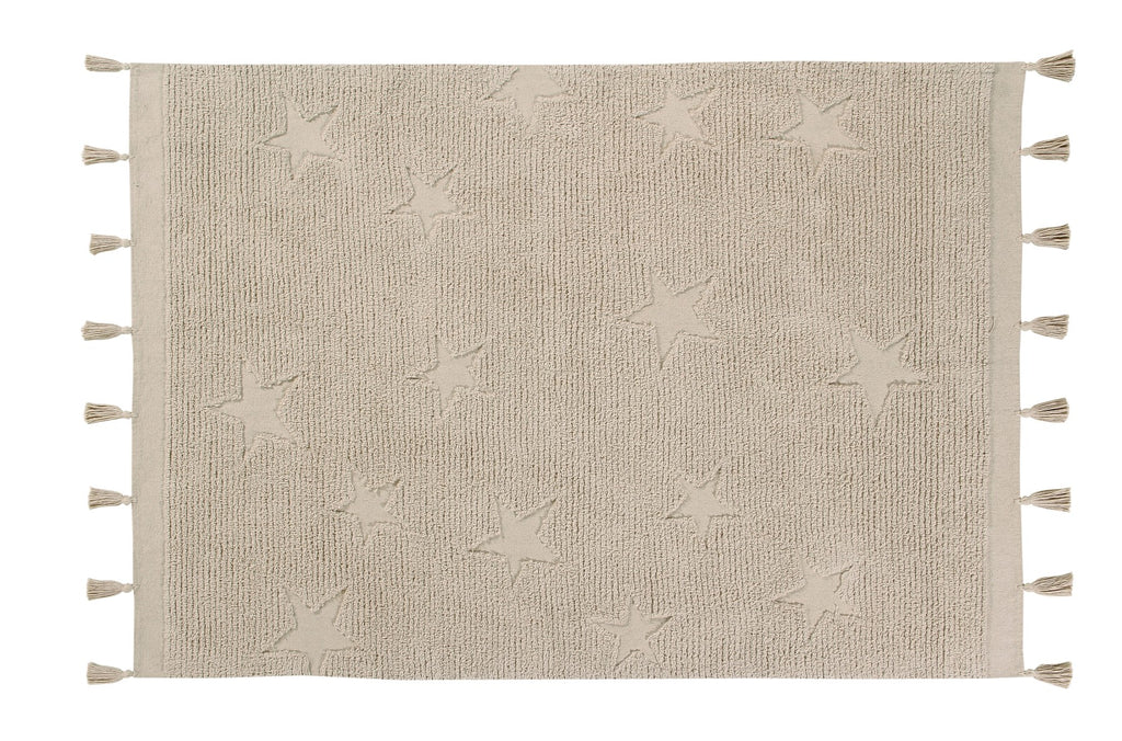 Curated Nest: Nurseries and Design - Hippy Stars Washable Rug - Natural - Rug