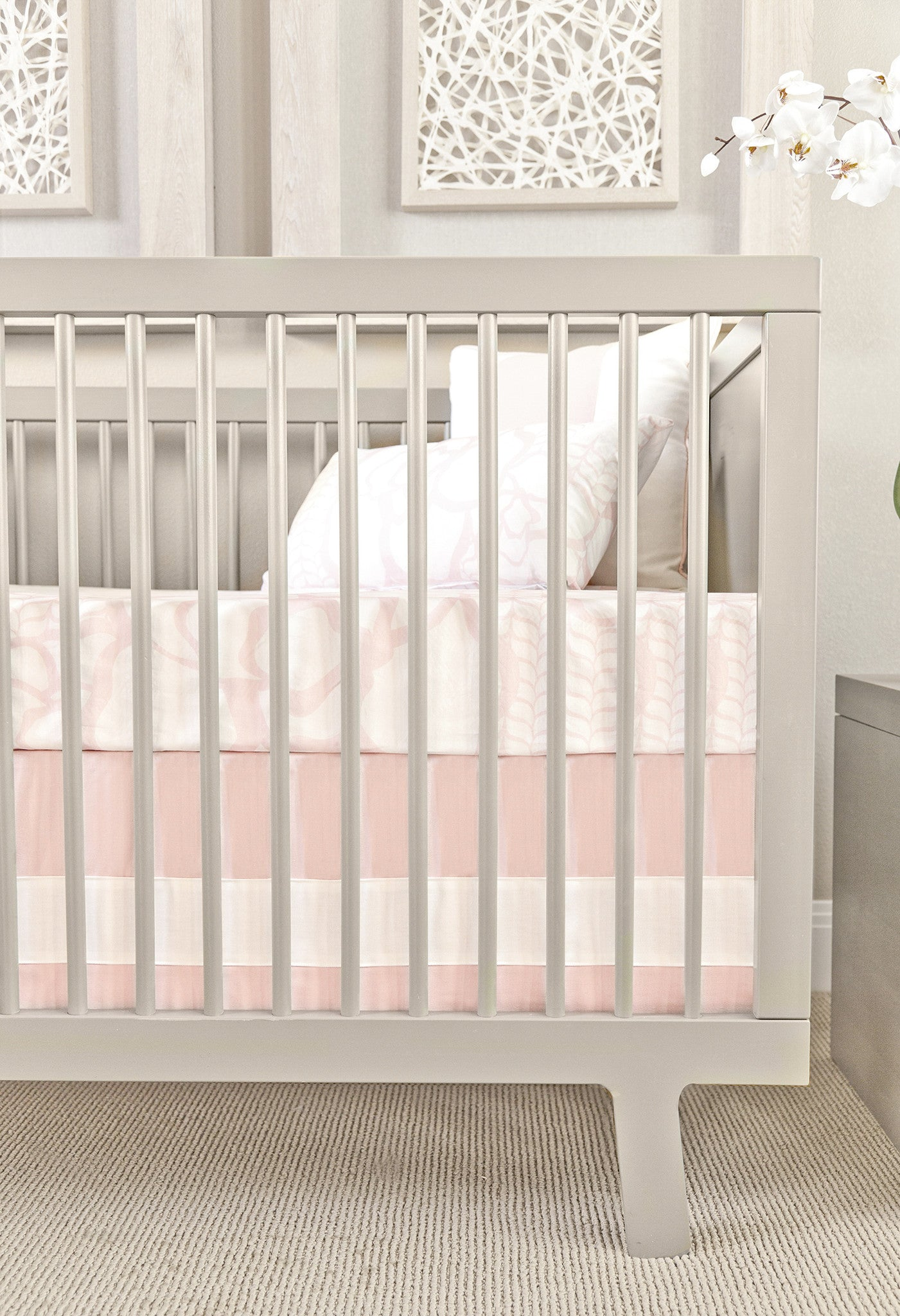 oilo blush band crib skirt – curated nest inc - oilo blush band crib skirt