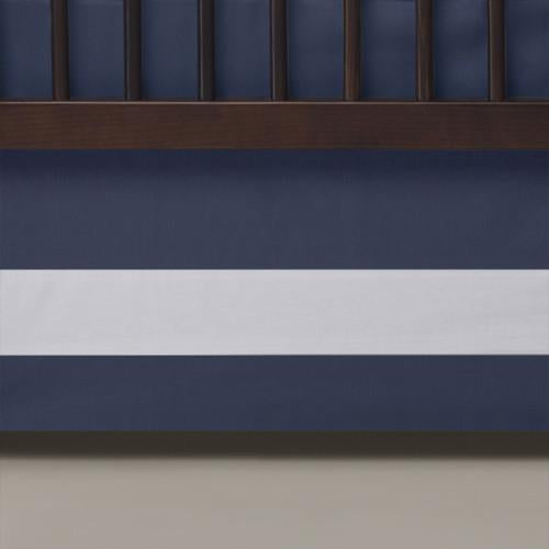 Curated Nest: Nurseries and Design - Oilo Indigo Band Crib Skirt - Crib Skirt