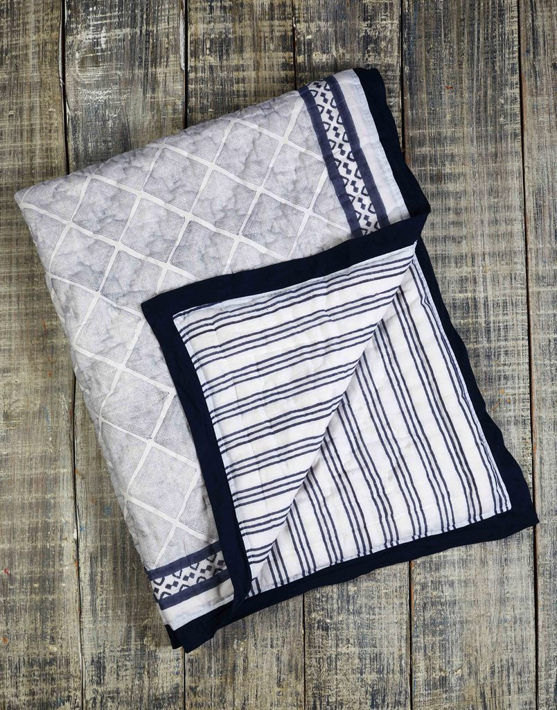 Curated Nest: Nurseries and Design - Cairo Blue Natural Cotton Handmade Quilt - Blanket