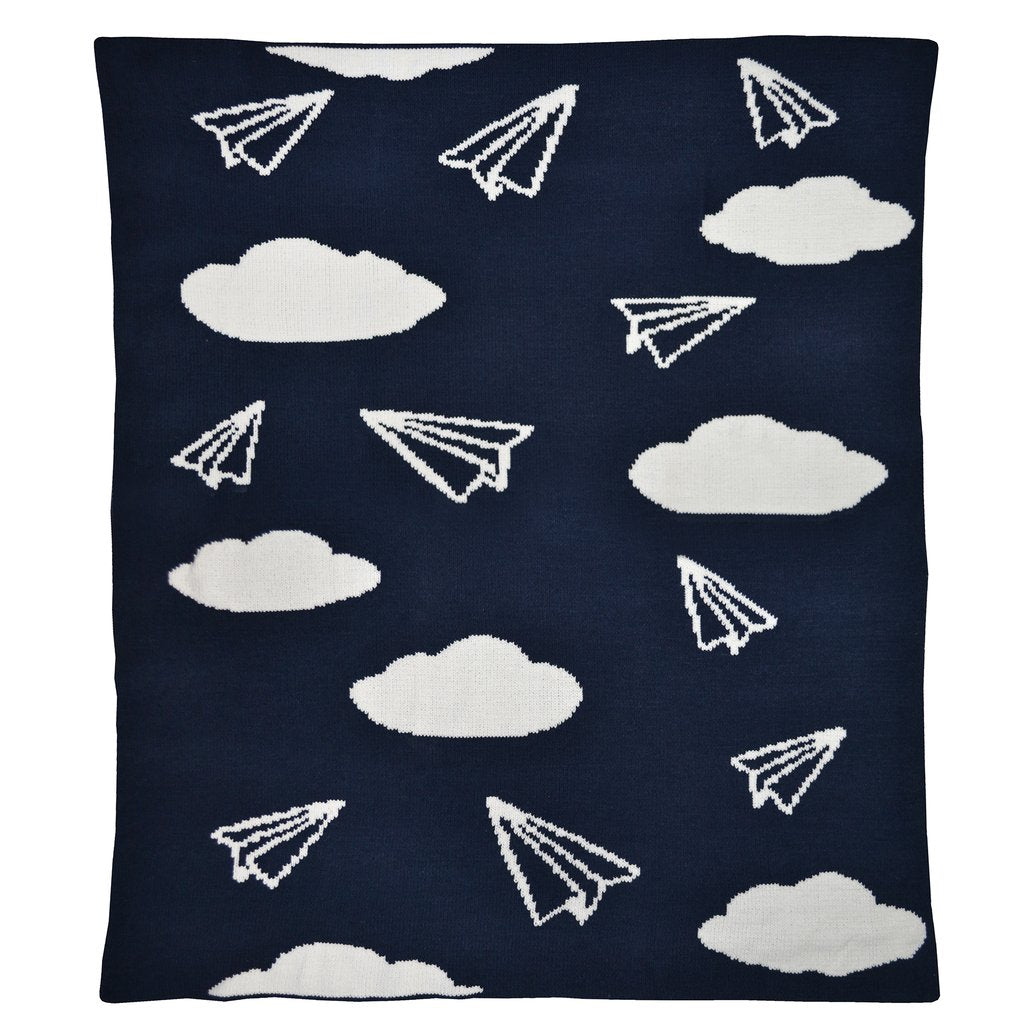 Curated Nest: Nurseries and Design - Chenille Paper Airplanes Blanket - Blanket