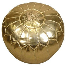 Gold Moroccan Pouf - Curated Nest