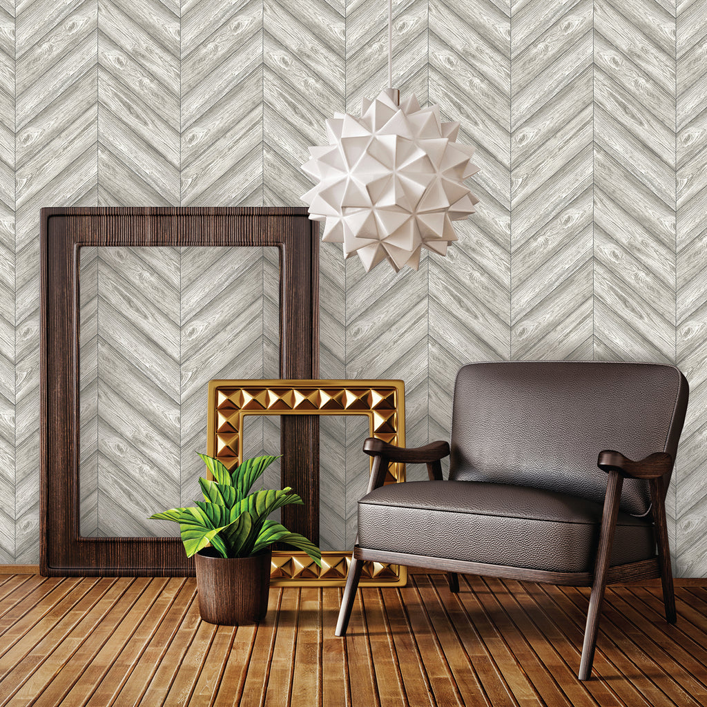 Curated Nest: Nurseries and Design - Textured Herringbone Ash - wallpaper