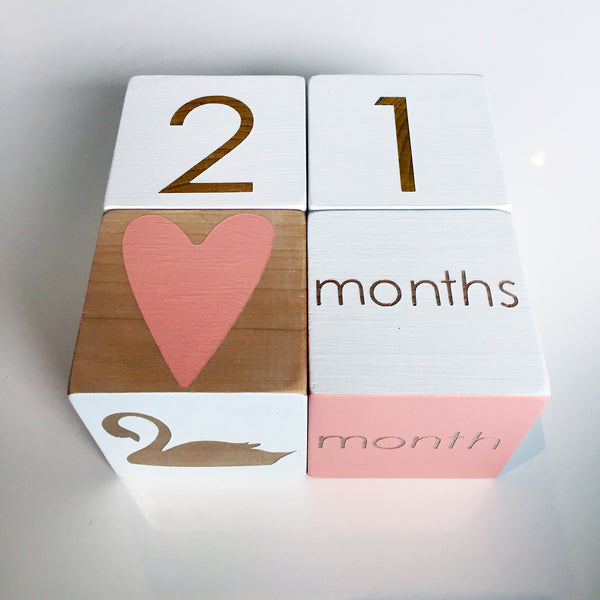 Curated Nest. Custom Design Baby Nursery Room. Products. Gifts. Blush Milestone Blocks.