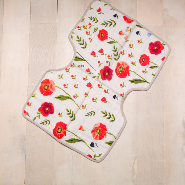 Curated Nest: Nurseries and Design - Muslin Burp Cloth - Summer Poppy - Gifts