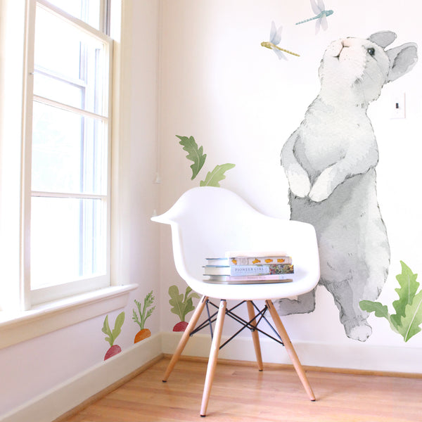 Curated Nest: Nurseries and Design - Big Curious Bunny Decal - wallpaper