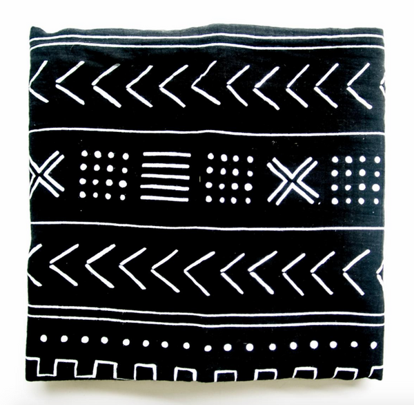 Curated Nest: Nurseries and Design - Luxe Muslin Swaddle - Black Mudcloth - Blanket