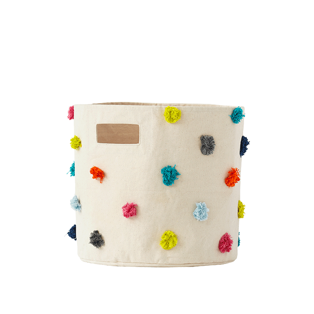 Curated Nest: Nurseries and Design - Multi-Color Pom Pom Storage Bin - Storage