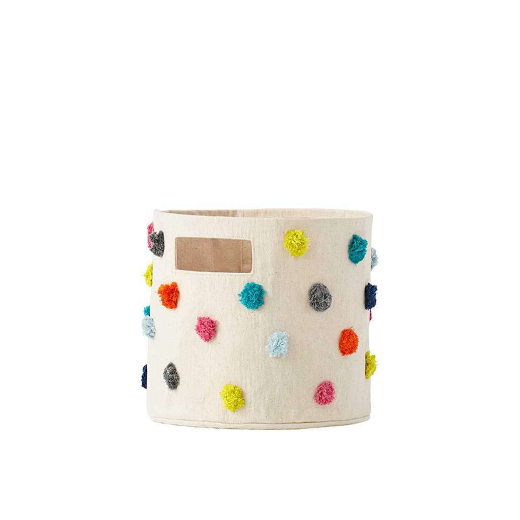 "Curated Nest: Nurseries and Design - Multi-Color Pom Pom ""Pint-sized"" Storage Bin - Storage"