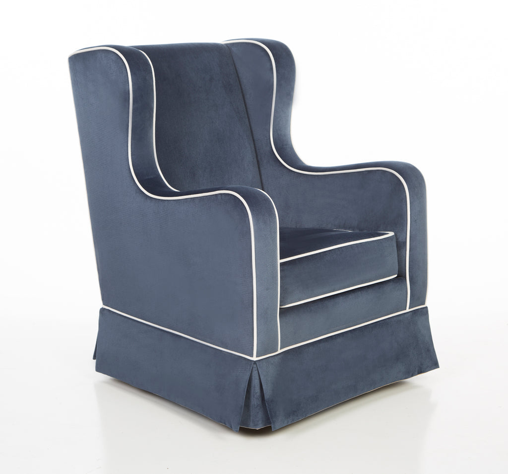 Curated Nest: Nurseries and Design - Oilo Penelope Glider in Indigo Velvet w/ Ivory Velvet Piping - Glider