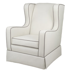 Oilo Penelope Glider in Ivory and Ash Velvet Fabric