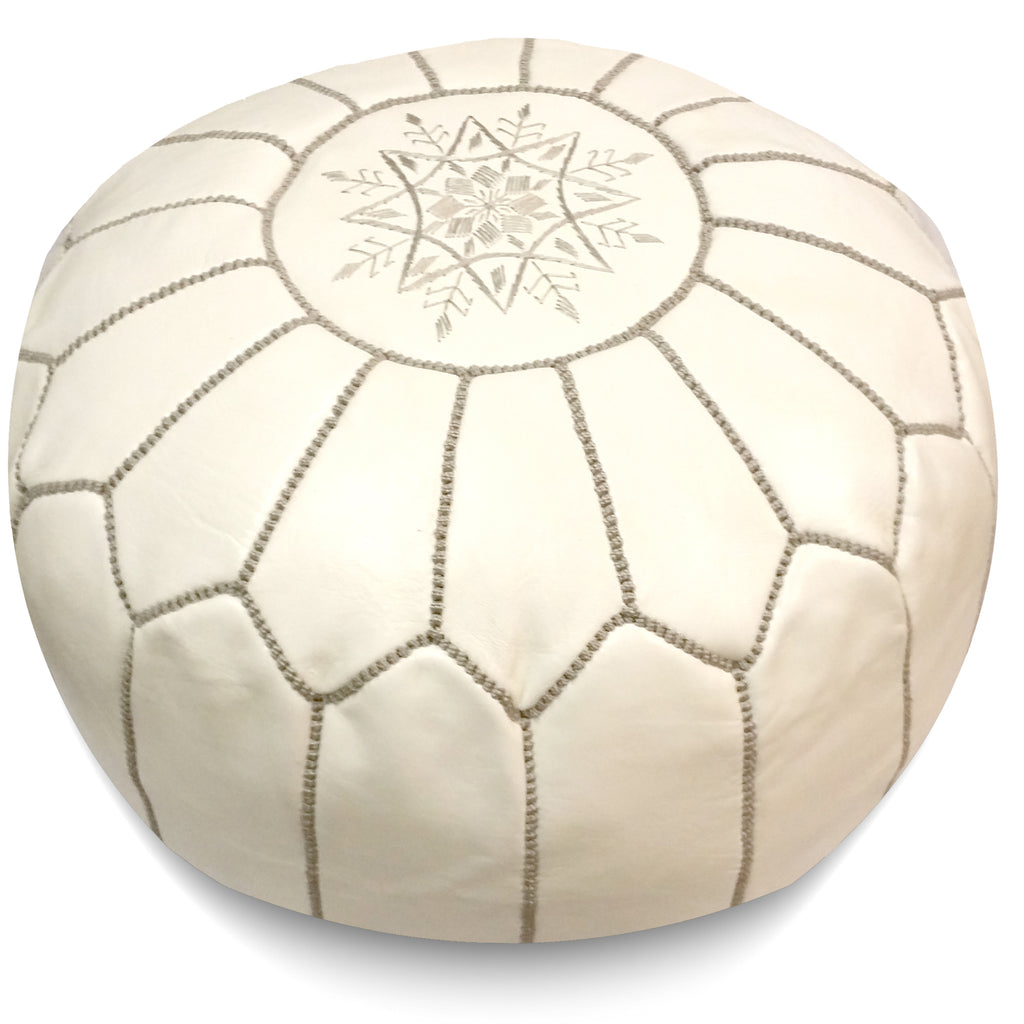 Curated Nest: Nurseries and Design - Cream w Grey Stitching Moroccan Pouf - Pouf