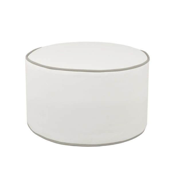 Round Ottoman in Bright White and Slate