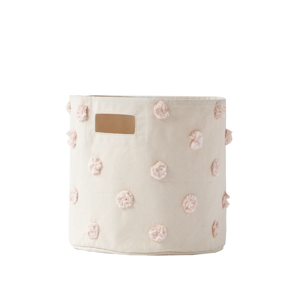 Curated Nest. Custom Design Baby Nursery Room. Products. Decor. Organization. Blush Pom Pom Storage Bin.