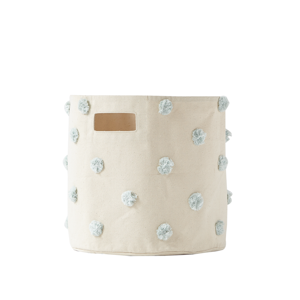 Curated Nest: Nurseries and Design - Blue Mist Pom Pom Storage Bin - Storage