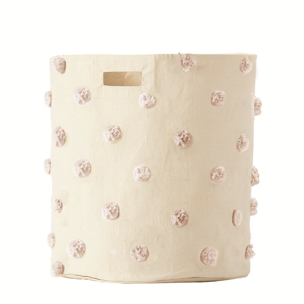 Curated Nest. Custom Design Baby Nursery Room. Products. Decor. Organization. Blush Pom Pom Large Storage Bin.